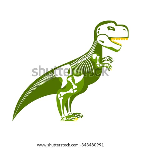 Dinosaur skeleton. Bone up on my body. T-Rex and skull. Tyrannos Stock photo © popaukropa