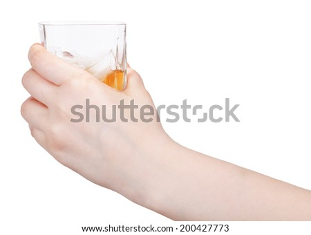 Hand and whiskey with ice. glass of scotch, bourbon. Arm with ci Stock photo © popaukropa