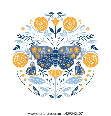 Folk art frame border retro vector greeting card design, floral ornament inspired by Scandinavian ar Stock photo © RedKoala