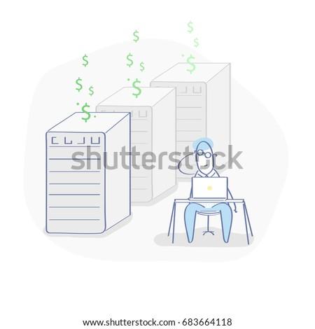 Minière bitcoin ferme icône signe argent Photo stock © popaukropa