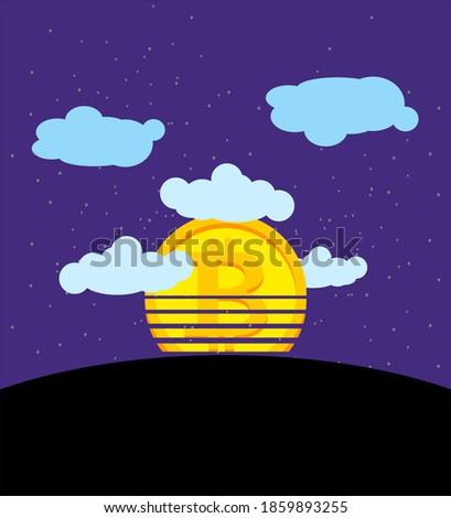 Gün batımı bitcoin düşmek para tırnak işareti düşen Stok fotoğraf © popaukropa