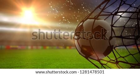 Futebol de volta com digitalmente gerado bandeira Foto stock © wavebreak_media