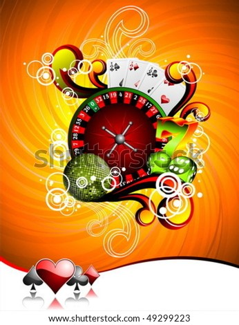 vector illustration on a casino theme with roulette wheel poker cards and playing chips on green ba stock photo © articular