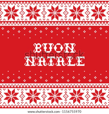 Boun Natale - Merry Christmas in Italian traditional seamless vector pattern or greeting card - Scan Stock photo © RedKoala