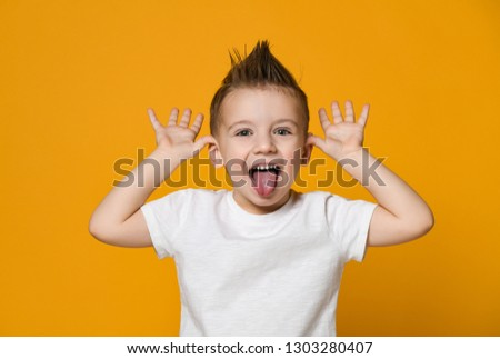 Jongen tong portret weinig familie gezicht Stockfoto © popaukropa