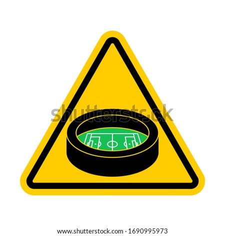 Aufmerksamkeit Stadion gelb Schild Vorsicht Fußball Stock foto © MaryValery