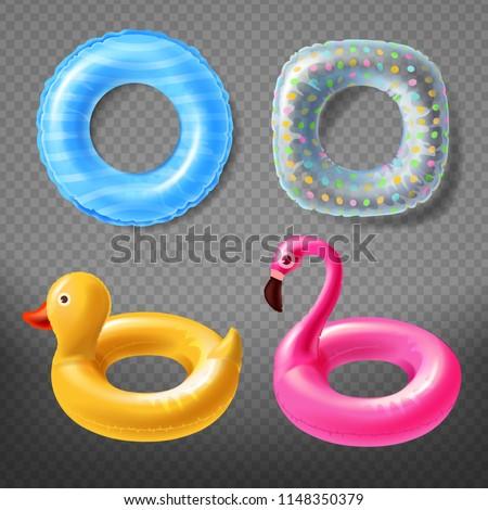 Pink Inflatable Flamingo Swim Ring Isolated Transparent Backgrou Stock photo © adamson