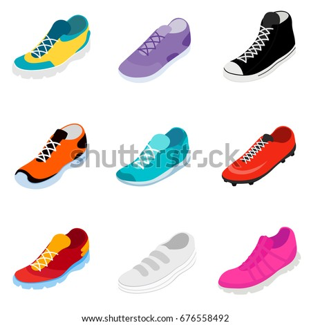 Sneakers set isometric style. Sport shoes isolated. Vector illus Stock photo © popaukropa