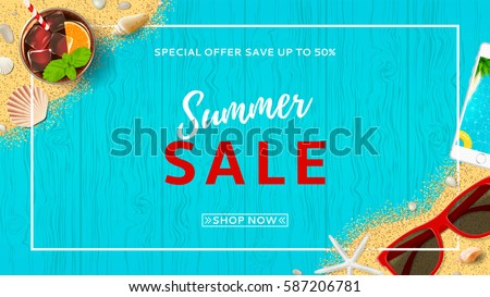Summer time background banner design template and season elements beach stock photo © Natali_Brill