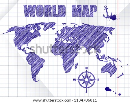 Blue ink sketched navigation world map on school notebook sheet background Stock photo © Iaroslava