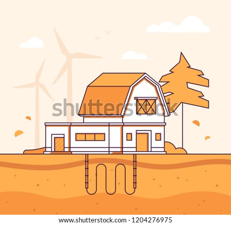 Barn with sewage system - modern line design style vector illustration Stock photo © Decorwithme