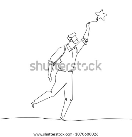 businessman reaching out the star   line design style illustration stock photo © decorwithme