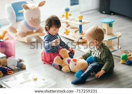 Group Of Children Playing With Colorful Toys On The Floor Vector. Isolated Illustration Stock photo © pikepicture
