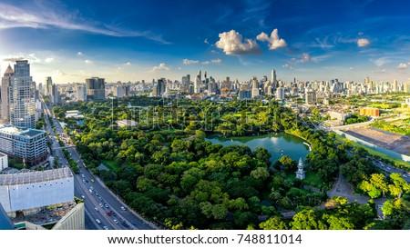 Stock fotó: Tájkép · park · Bangkok · Thaiföld · tó · naplemente