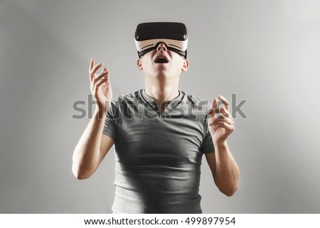 Dependency on gadgets concept. A man in virtual reality. vr glas Stock photo © studiostoks