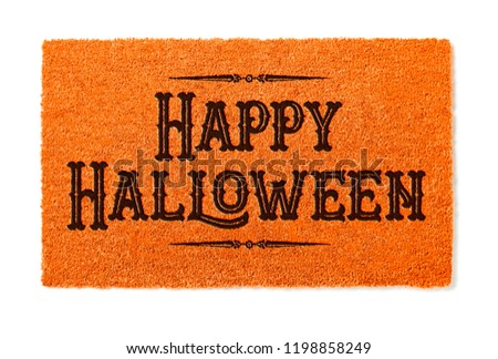 Happy Halloween Orange Welcome Mat Isolated on White Background Stock photo © feverpitch