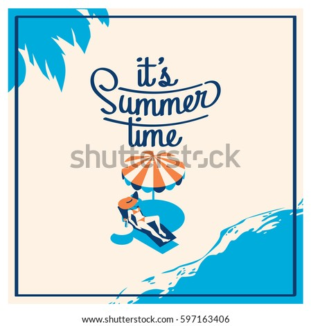 flat summer vacation time background vector illustration concept stock photo © Linetale