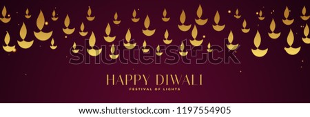 happy diwali festival banner with golden diya in different sizes stock photo © sarts