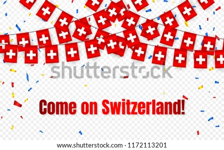 Швейцария гирлянда флаг конфетти прозрачный празднования Сток-фото © olehsvetiukha