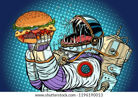 Astronaut monster eats burger. Greed and hunger of mankind conce Stock photo © studiostoks