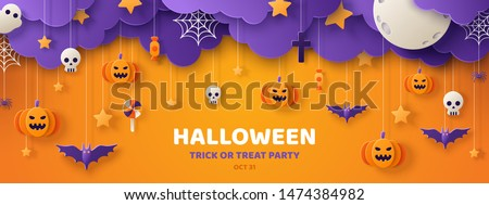 Halloween Sale vector flyer illustration with pumpkin, moon, crow, bats and cemetery on orange sky b Stock photo © articular
