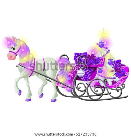 Christmas sketch with animated horse with a pink mane and hooves, sleigh filled with gift boxes and  Stock photo © Lady-Luck