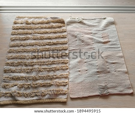 Foto d'archivio: Yellow Washed Carpet Texture Linen Canvas White Texture Background