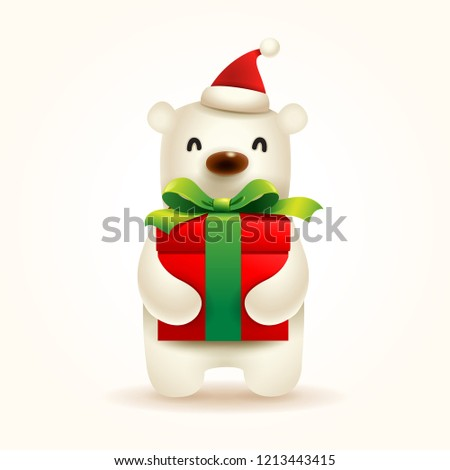 Christmas Cute Little Polar Bear with Santa's Cap and Gift Pre Stock photo © ori-artiste