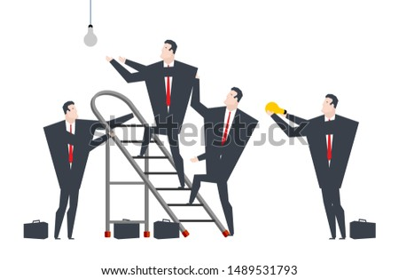 Businessmen change light bulb. How many lawyers do you need to c Stock photo © MaryValery