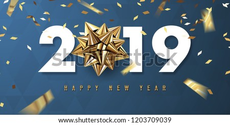 Merry Christmas and Happy New Year 2019 gold on black background Stock photo © MarySan