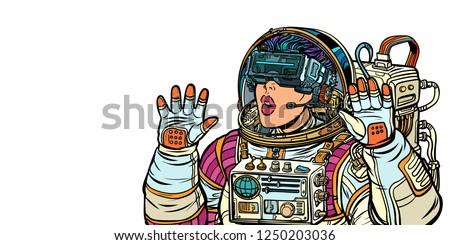 Verwonderd vrouw astronaut virtueel realiteit bril Stockfoto © studiostoks