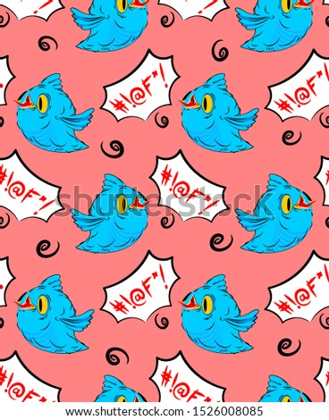 Blue bird and swearing words seamless pattern. Birdie and foul l Stock photo © MaryValery