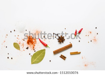 Flat lay of Seasoning background. Spice and herb seasoning with fresh and dried Stock photo © Illia