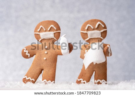 Christmas greeting card with gingerbread cookies Stock photo © karandaev