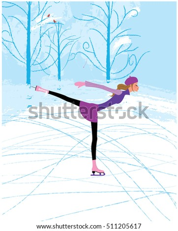 Ice Skates Icon Vector. Classic Female Winter Retro Figure Sport Shoes. Isolated Cartoon Illustratio Stock photo © pikepicture
