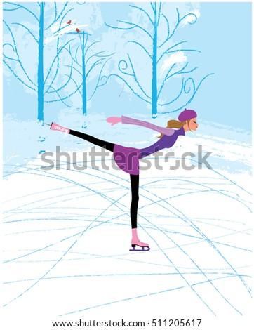 Buz paten ikon vektör klasik kadın Stok fotoğraf © pikepicture