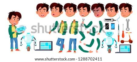 Asian jongen schooljongen ingesteld vector Stockfoto © pikepicture