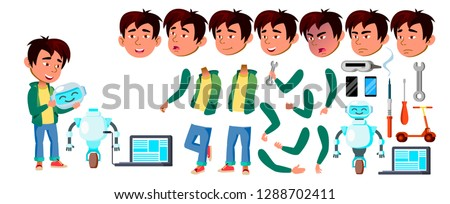 asian boy schoolboy set vector primary school child cute child happiness enjoyment chrastmas ne stock photo © pikepicture