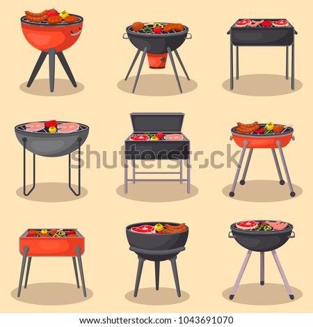 Stove for cooking meat and vegetables on fire isolated on white background. Vector cartoon close-up  stock photo © Lady-Luck