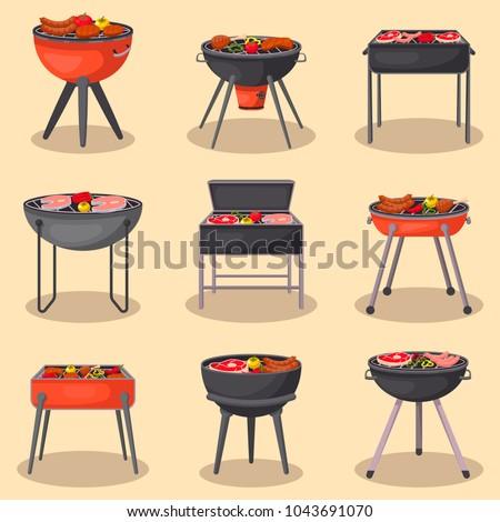 fogão · cozinhar · carne · legumes · fogo · isolado - foto stock © Lady-Luck