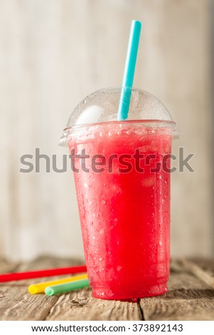 Summer refreshing strawberry sorbet, slush granita drink in serving glasses on silver tray. Stock photo © Illia
