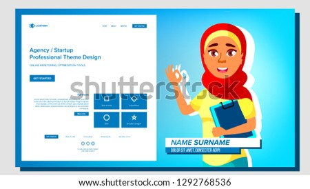 Self Presentation Vector. Arab Female. Introduce Yourself Or Your Project, Business. Illustration Stock photo © pikepicture