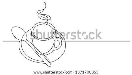 Croquis café soucoupe cuillère style art Photo stock © Arkadivna