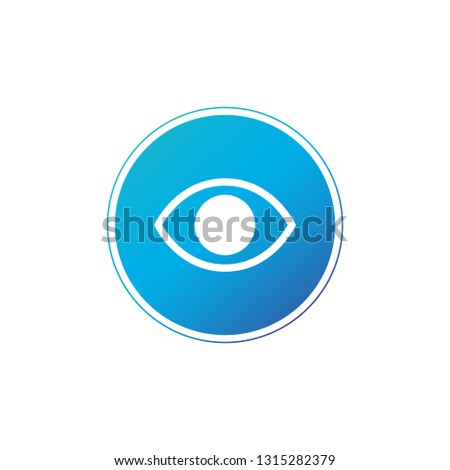 simple minimalistic eye icon in circle web or app button vector illustration isolated on white bac stock photo © kyryloff