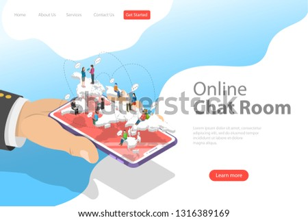 flat isometric vector landing page template of live chat social media network stock photo © tarikvision