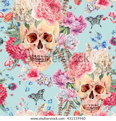 Floral seamless pattern. Hand drawn blue and pink head of flowers. Colorful artistic background with Stock photo © user_10144511