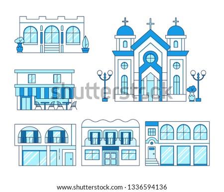 Hat sanat ayarlamak evler balkon kilise Stok fotoğraf © MarySan