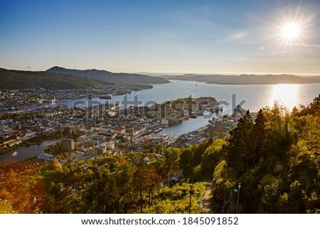 Ciudad oeste costa Noruega vista altura Foto stock © cookelma