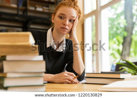 путать устал Lady студент сидят Сток-фото © deandrobot