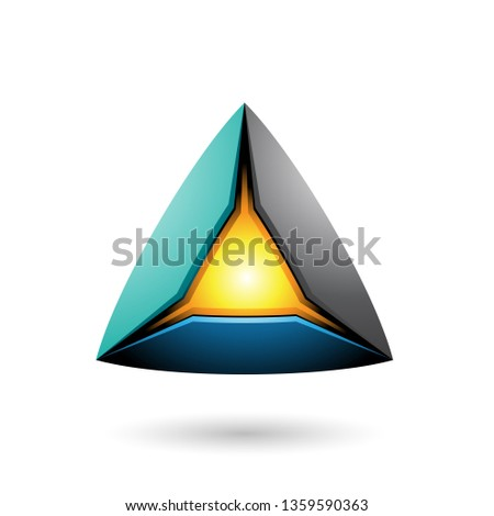 Blue Black and Green Pyramid with a Glowing Core Vector Illustra Stock photo © cidepix